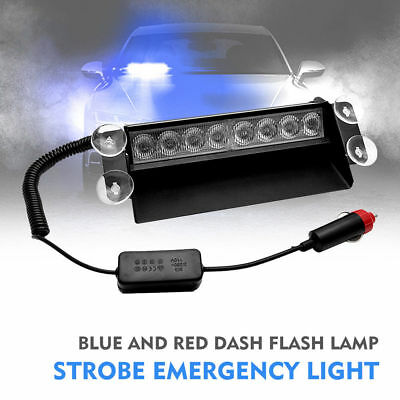 8LED Blue Car Police Strobe 4Sucker Flashing light Warning Dash Emergency Lamp