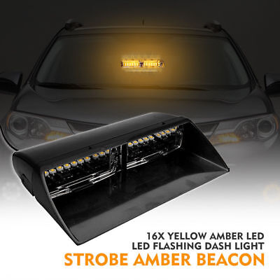 16LED 12V Yellow Car Police Strobe Sucker Flashing lights Dash Emergency Lamp