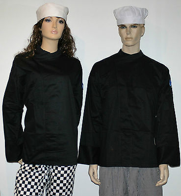1 x black chefs jacket pullover With pen pocket unisex male or female