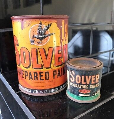 SET OF 2 X SOLVER Paint Tins Cans 1950's RARE