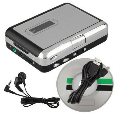 USB Audio Cassette Capture Tape Converter to MP3 CD Player PC w/ Cable Headphone