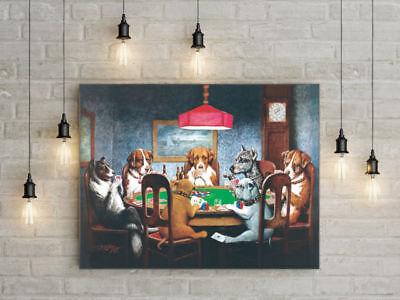 18x24 HD Canvas print Home decor painting (No frame) /Dogs Playing Poker #04124