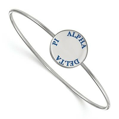 Sterling Silver LogoArt Alpha Delta Pi Enameled Slip-on Bangle SS021ADP-6