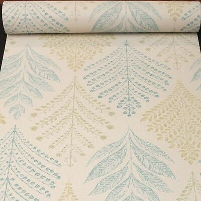 Grandeco Rowan Leaf Teal Green White Glitter Wallpaper Textured Vinyl A23303