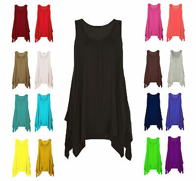 Womens Top Gathered Ladies Plus Size 18 20 22 24 26 Vest Hem Flared Swing*Hnky