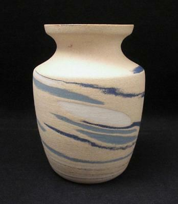 Superb Signed Eric Juckert Australian Pottery Blue Marbled Agate Ware Vase