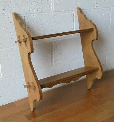 Antique Vintage Light Oak Wall Shelf With Peg Joints For Trinkets Or Books