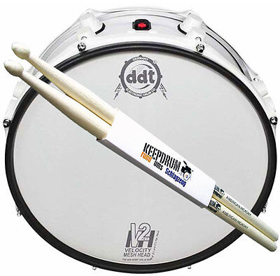 "DDT Velocity 16"" 2PLY Mesh Head Weiß Tom Fell + keepdrum Drumsticks 1 Paar!"