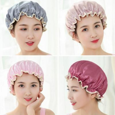 Elastic Women Bathing Hair Hat Waterproof Shower Cap Double Layers Satin Cover