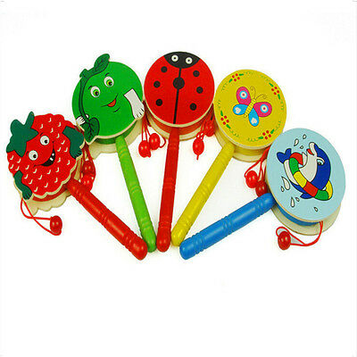 Cartoon Rattle Wooden Handbell Jingle Rattle Toy Musical Instrument For Baby HC