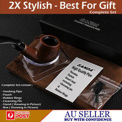 2X Rubber Ring Sanda Tobacco Wooden Wood Look Smoking Smoke Pipe Best For Gift