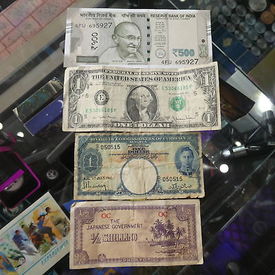 4x World Paper Banknote Lot incl. India,US, Straits Settlements and Japan