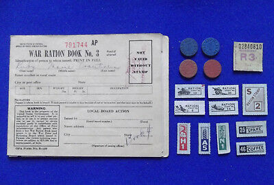 OPA Ration Book Stamps World War 2 WWII U.S. 1943 vintage blue red token points