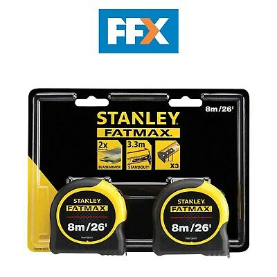 Stanley FMHT81558-5 FatMax Classic Tape Twin Pack 8m/26ft (Width 32mm)