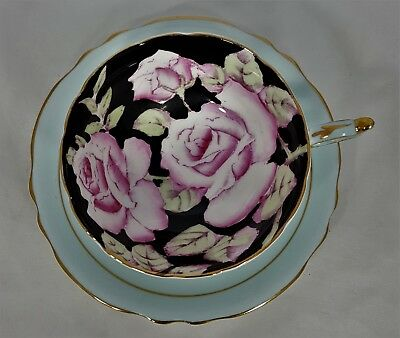 Paragon Cup & Saucer with Large Pink Roses & Black Background