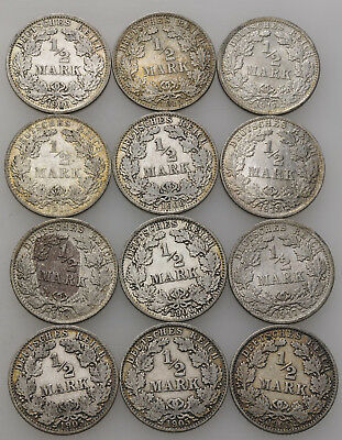 Künker: Deutsches Kaiserreich, Lot, 12 x 1/2 Mark 1905-1918, A, D, F, G