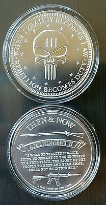 1 oz .999 Silver coin skull 2nd amendment don/'t tread on me Punisher ar15 3/%