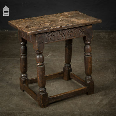 17th C Carved Oak Joint Stool with Turned Legs