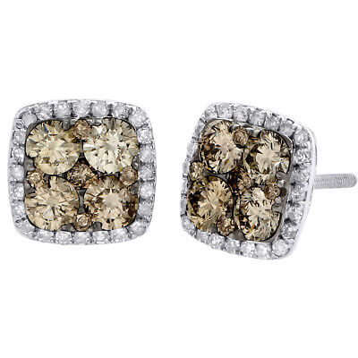 14K White Gold Brown Diamond Flower Studs Square Halo 9mm Earrings 1.50 CT.