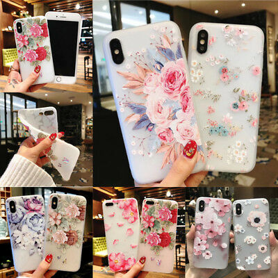 For iPhone Samsung S9/8 Plus Cute Rubber Soft Silicone Pattern Flower Case Cover