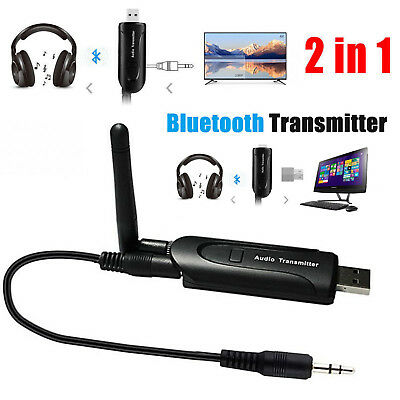 2 in 1 USB Bluetooth V4 Transmitter Wireless A2DP Audio 3.5mm Aux Stereo Adapter