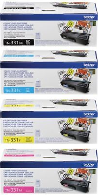 New Genuine Oem Brother Tn331Bk Tn331C Tn331Y Tn331M Toner Set (4-Pack)
