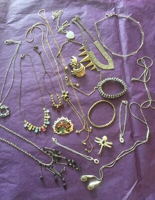 Vintage Job Lot 3, 17 Pieces Costume Jewellery, 1940's Onwards