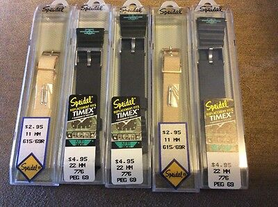Lot of 5 vintage watch straps bands Flex On, Speidel, for Timex rubber new