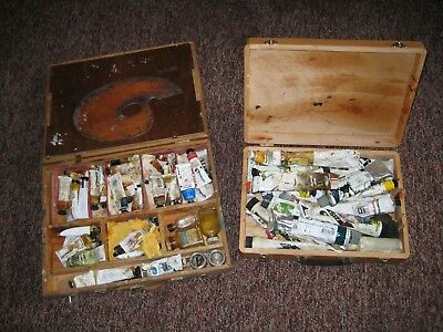 2 Pre-Owned Artists Paint Boxes - A Large Quantity Of Semi Used Tubes Of Paint