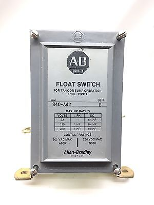 New 840-A42 Allen Bradley Float Switch with 1490-N9 2 Normally Closed Contacts