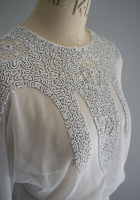 Antique crochet lace and braid embroidered net bodice from France, circa 1912