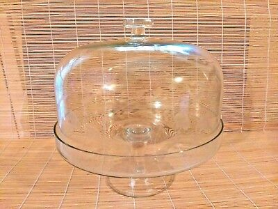 Vintage Etched Glass Floral Motif Dome w Footed Cake Stand 2PC Set