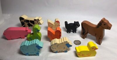 Wooden Farm Animals Colorful Cow Horse Pig Duck Chicken Sheep Wooden