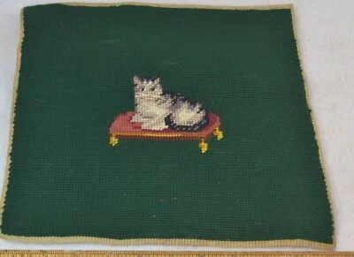 antique needle point kitty cat hand made 11 in. top pillow stool original  vg