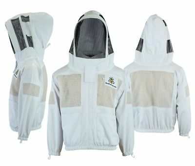 Best Bee Clothing 3 Layer beekeeping jacket ventilated fency veil hood@XL-UK1