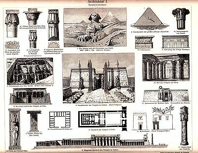 1894 ANCIENT EGYPT ARCHITECTURE, Egyptian Art, Culture Antique Print