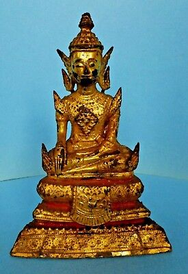 Gilded Lacquered Bronze Buddha Figure Rattanakosin Period Thailand Antique