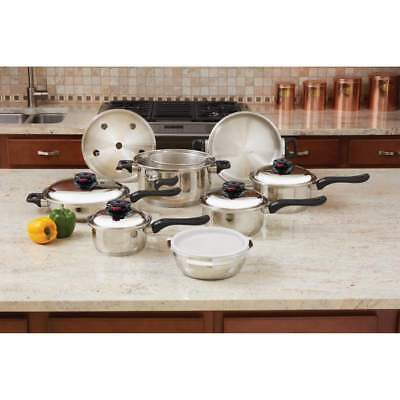 Chef's Secret 15-Pc KT915 12-Element T304 Stainless Steel Waterless Cookware Set