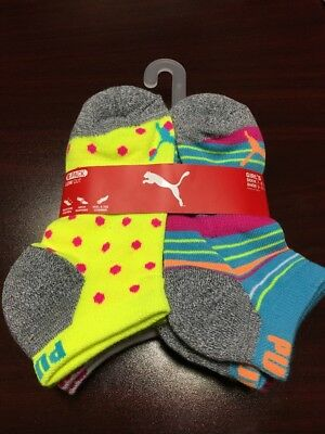 PUMA Girl's Low Cut 6 Pack Socks Shoe Size 9-3.5 Dots And Striped