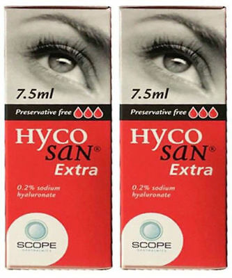 Hycosan Extra Eye Drops for Dry Eyes x 2 Bottles Preservative Free by Scope