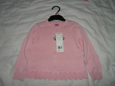 Girls pink cardigan with lace detail frill 18-24 months Tesco F&F BNWT