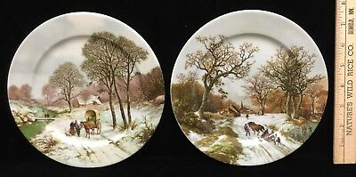 Royal Schwabap Decorative Plates Holland Winter Scene Hand Decorated Lot Of 2