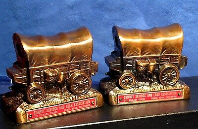 Vtg Pair Western Trail Wagon Banks Bookends Santa Rosa Calif Summit Savings Loan