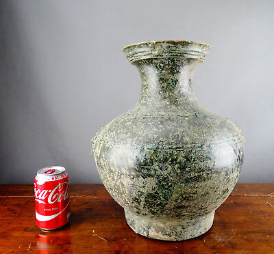 Large Antique Chinese Green Glazed Pottery Hu Vase Genuine Han Dynasty Period