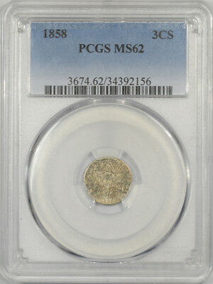 1858 Three Cent Silver Pcgs Ms-62