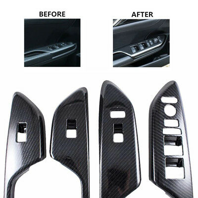 Fiber Painted Door Window Lock Switch Lift Cover for 2016 ON Honda Civic Trims