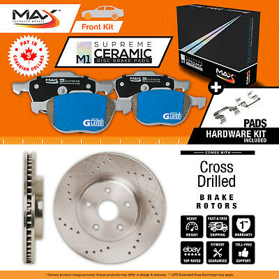 2011 2012 Ford Taurus (See Desc.) Cross Drilled Rotors AND M1 Ceramic Pads Front