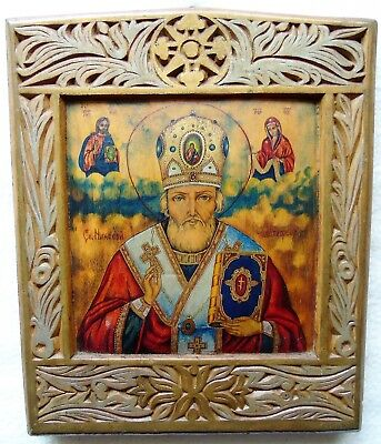 Antique Russian Icon of St Nicholas. The first half of the 20th century.