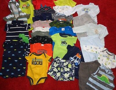 Huge Lot Of Boys Summer Clothes Outfits Shirts Shorts Rompers Carters Size 6 Mo.