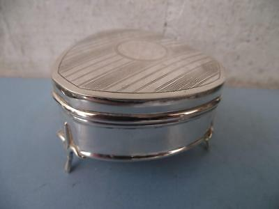 English Sterling Silver Heart Shaped Jewelry Casket/Box HM Birmingham 1916